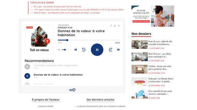Edisound déploie déjà son player avec Reworld Media, premier groupe média thématique en France, ici sur le de Maison et Travaux © DR