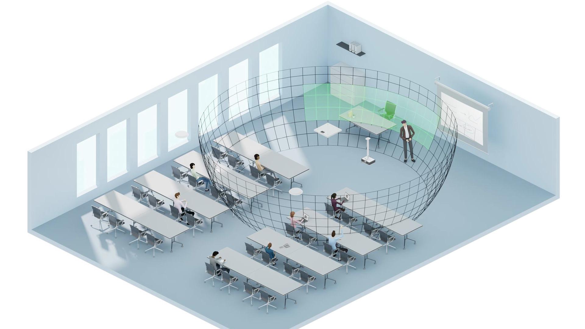 L'appli gratuite Sennheiser Control Cockpit permet de définir des zones prioritaires d'amplification vocale pour focaliser la captation sur le locuteur (vert = zone prioritaire sélectionnée) © DR
