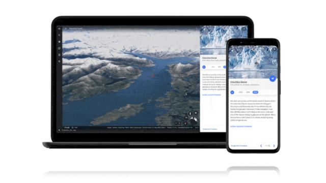 Timelapse dans Google Earth montre le changement rapide sur notre planète à travers cinq histoires thématiques, par exemple le retrait du glacier Columbia en Alaska. © Google Earth