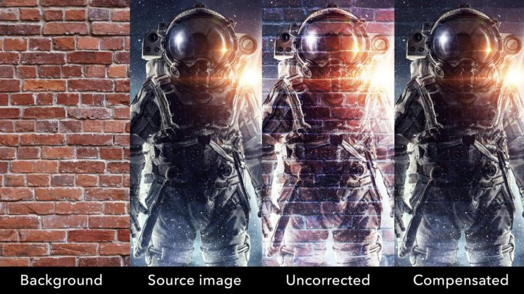 Projetez du contenu presque partout – Cette illustration montre le résultat de la compensation d'arrière-plan par caméra de Mystique V2.5 lors de la correction d'une image projetée sur un mur de briques © DR